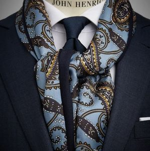 New John Henric Light Blue Paisley Silk Scarf